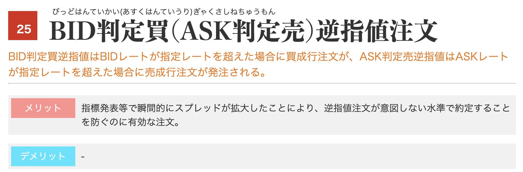 BID判定買(ASK判定売)逆指値注文