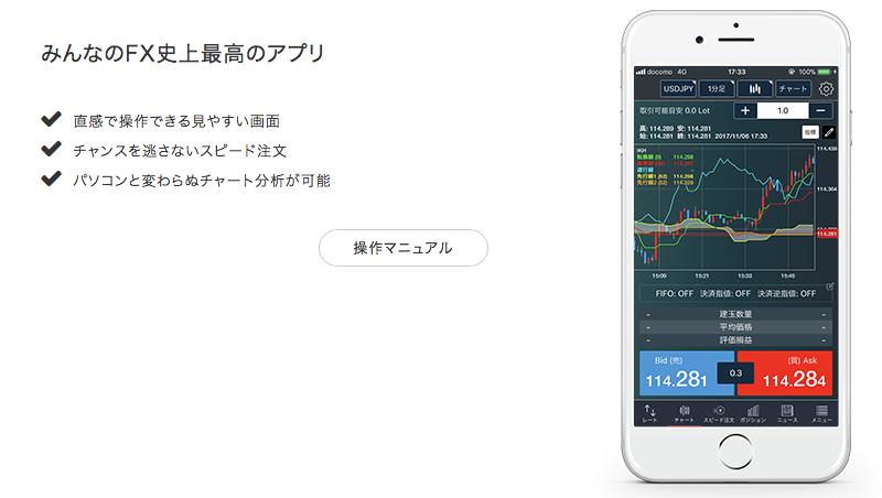 「みんなのFX」のFXトレーダーアプリ版