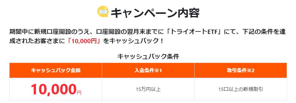 トライオートETF1000円キャッシュバック