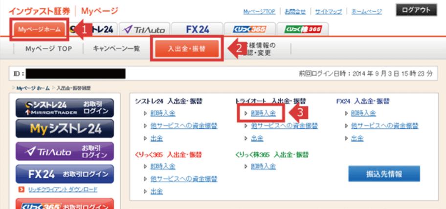 トライオートFX 入金画面
