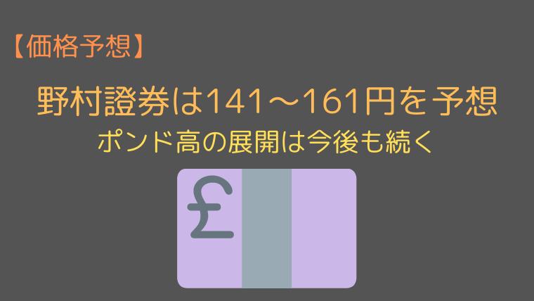 野村證券のポンド円の価格予想(20201年)