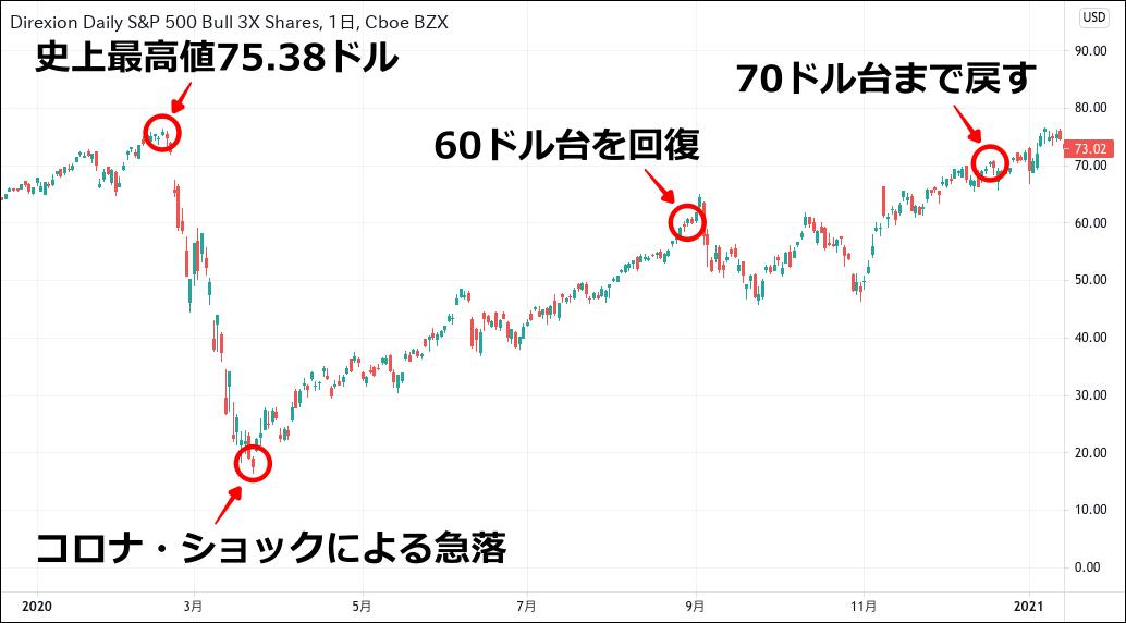 SPXL チャート(2020)