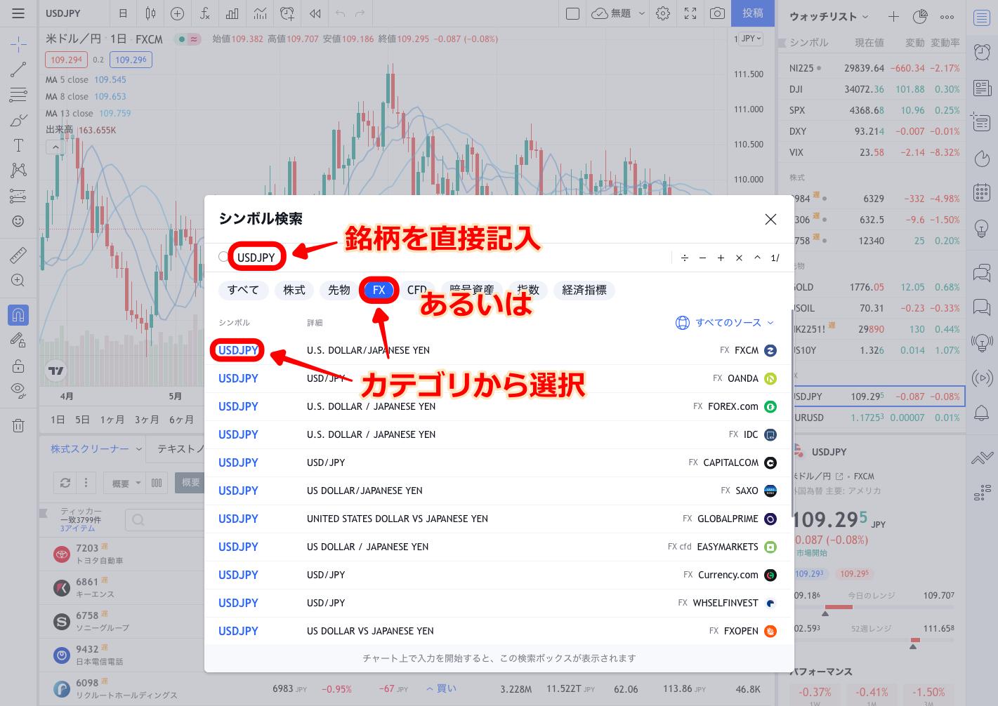 TradingView シンボル検索